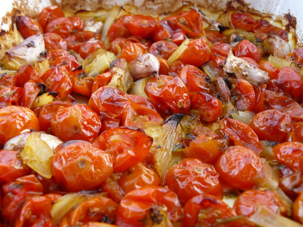 Slow Roasted Tomatoes with Chilli and Garlic