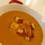 Spicy Butternut Squash Soup with Paneer Croutons