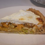 Sweet Potato and Leek Pie with Goats Cheese Topping