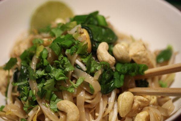 tofu and cashew pad thai for carb loading