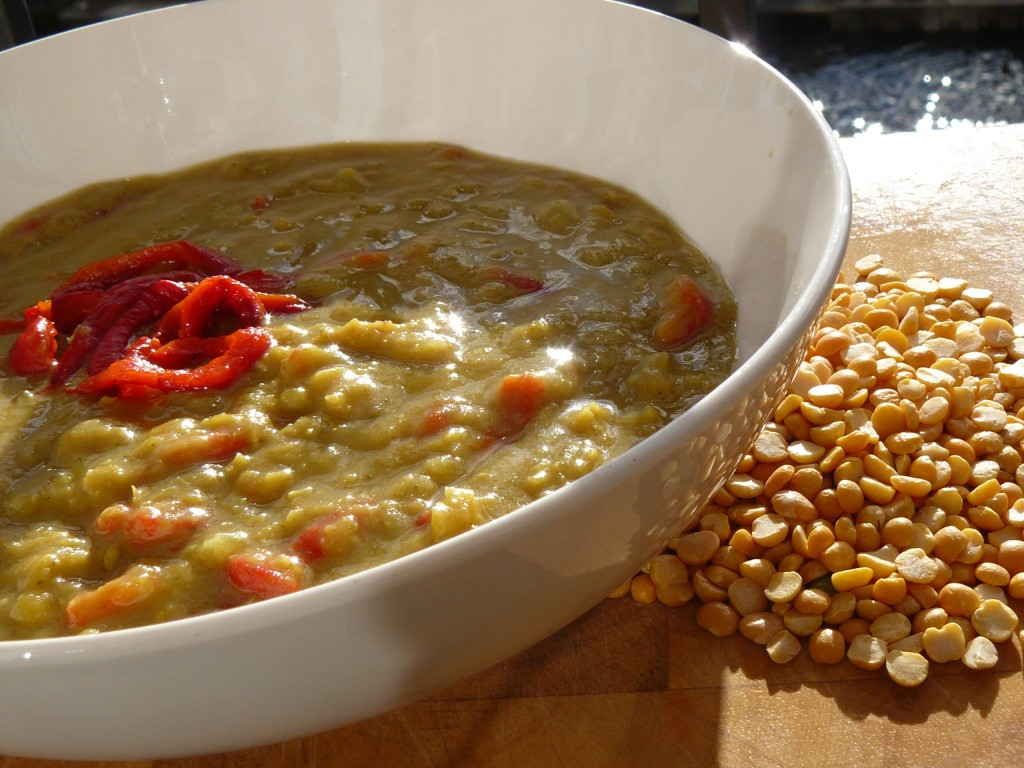Curried Split Pea Soup with Roasted Red Peppers