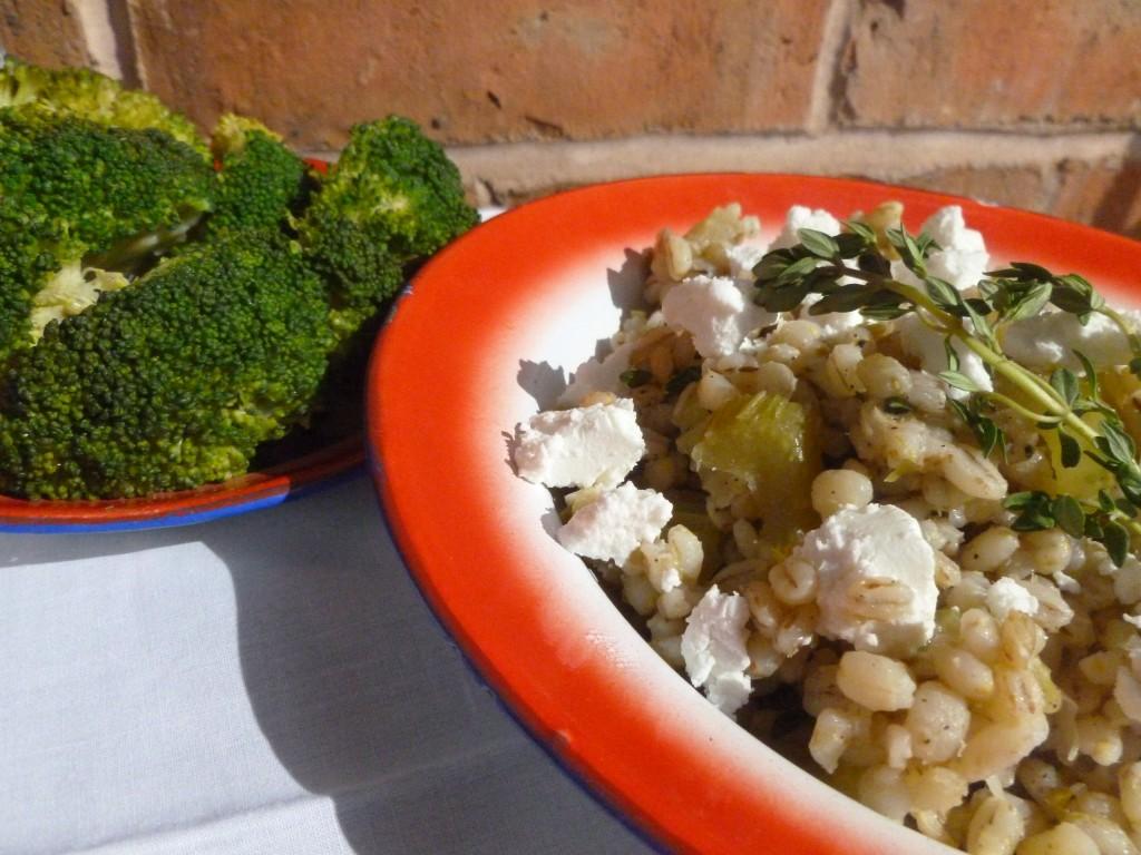 leek and celery barlotto with lemon thyme