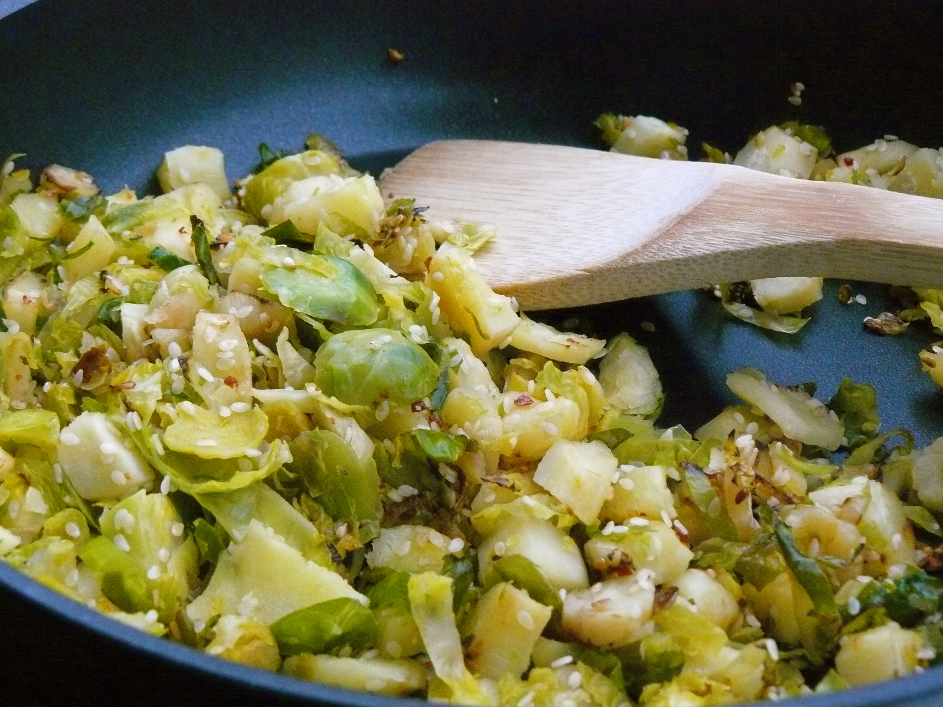 Spicy Sprouts And Parsnips
