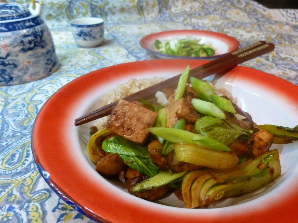 Szechuan Tofu with Mushrooms and Baby Bok Choi, tofu recipes, bok choi recipes, vegan recipes, vegetarian recipes, chinese vegan recipes, chinese vegetarian recipes