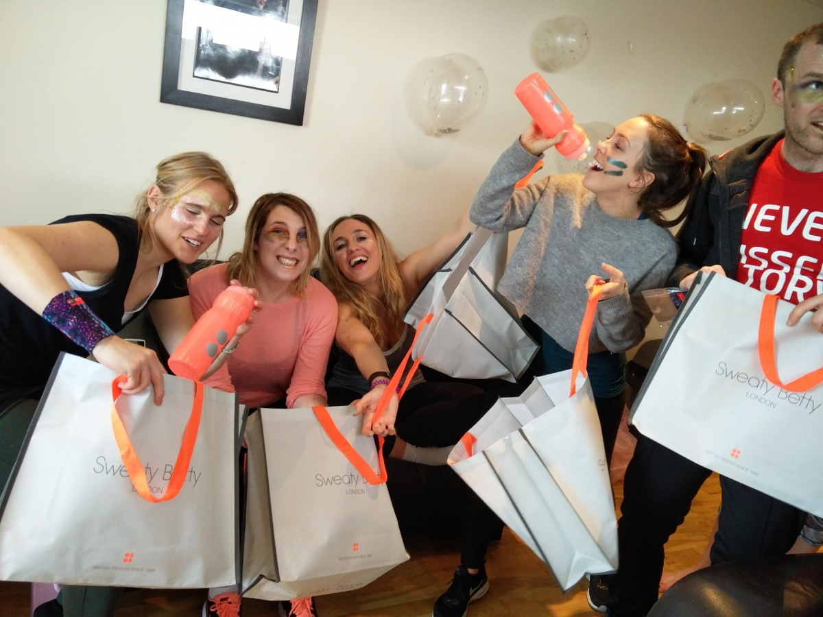veggie runners hen do, healthy hen do, sweaty betty goody bags